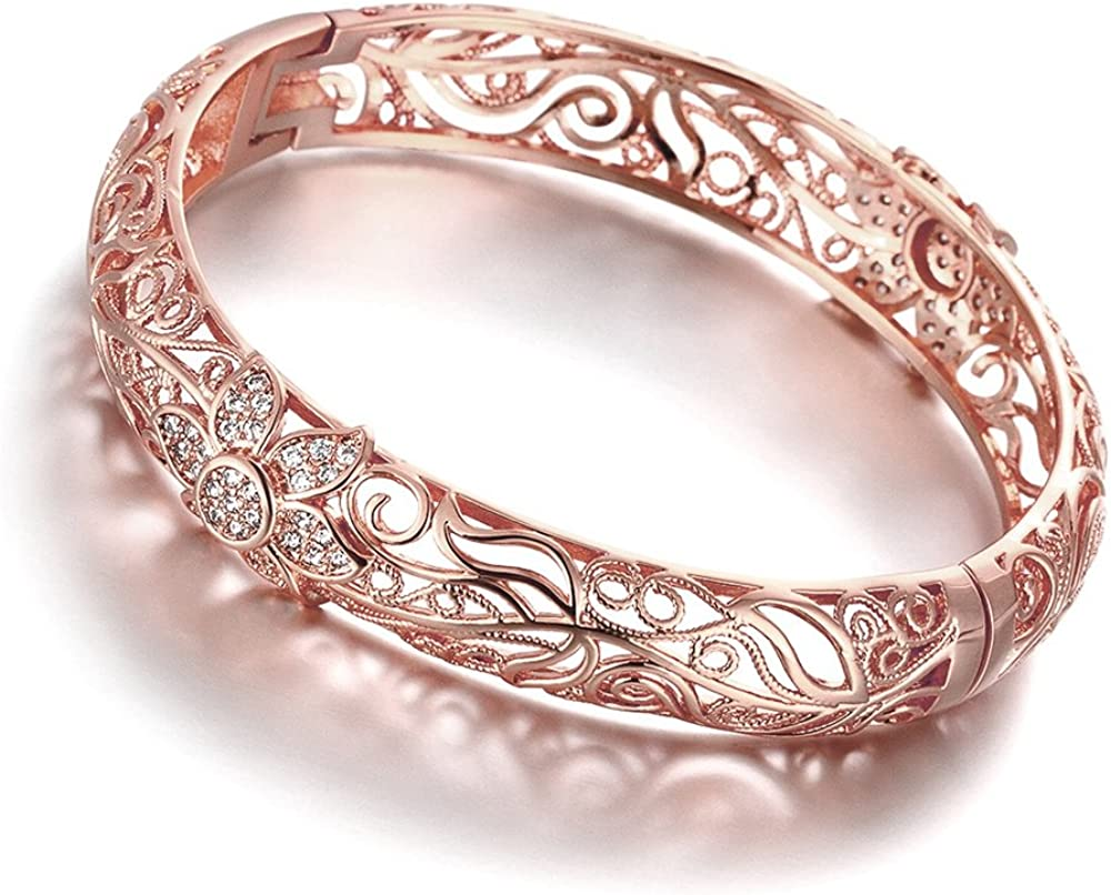 DILANCO 18K Rose Gold-Plated Creative Design Elegant Pattern Bangle Bracelet for Women