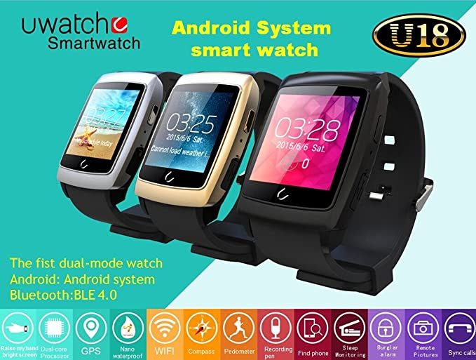 Amazon.com: Uwatch U18 Reloj de pulsera bluetooth para ...