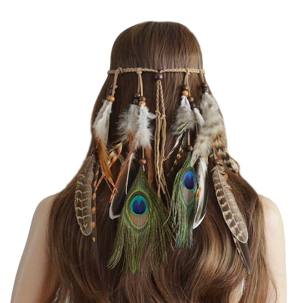 Ymwave Damen Stirnbänder Hippie Boho Haarband Haarschmuck Indisch Kopfschmuck Feder Quasten Gürtel Seil Weben mit Holzperle für Frauen Festival Karneval