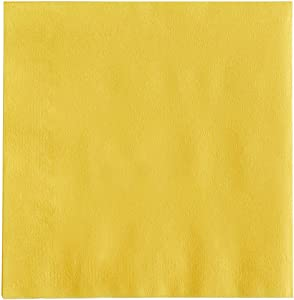 MM Foodservice 2- Ply Cocktail Napkins, Beverage Paper Napkins, Set of 250 (Yellow)