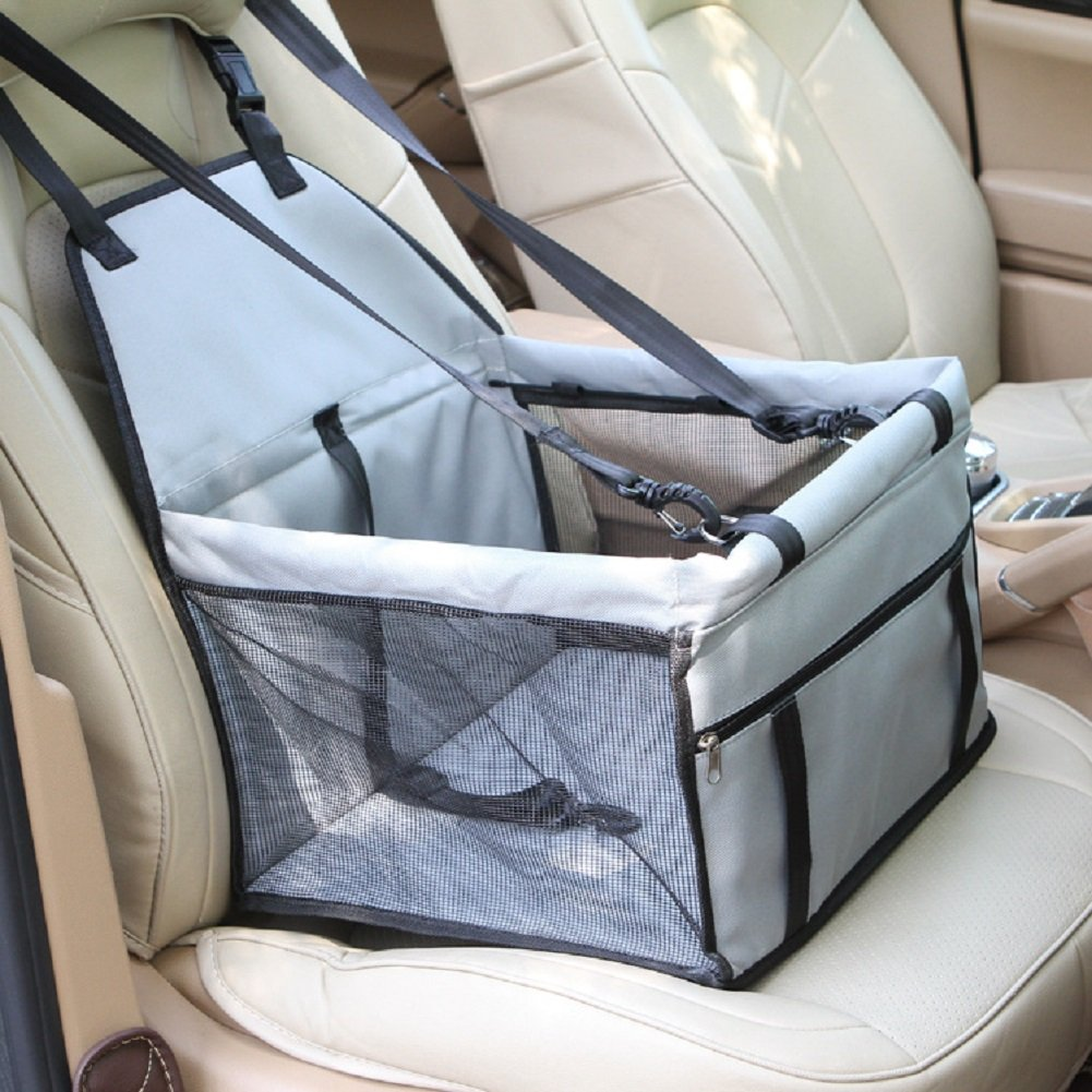 Pet Reinforce Car Booster Seat - Leber Travel Safety Seat Medium and Small for Dog or Cat , Grey