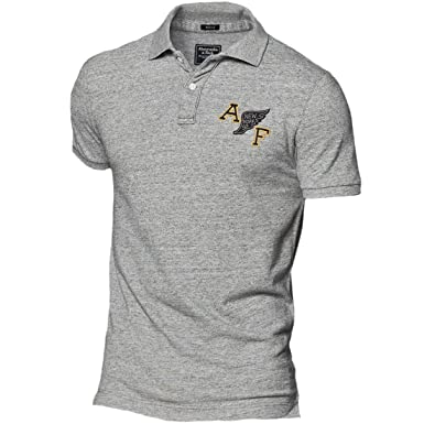 Abercrombie Men S Heritage Logo Polo Shirt Tee Size M Grey