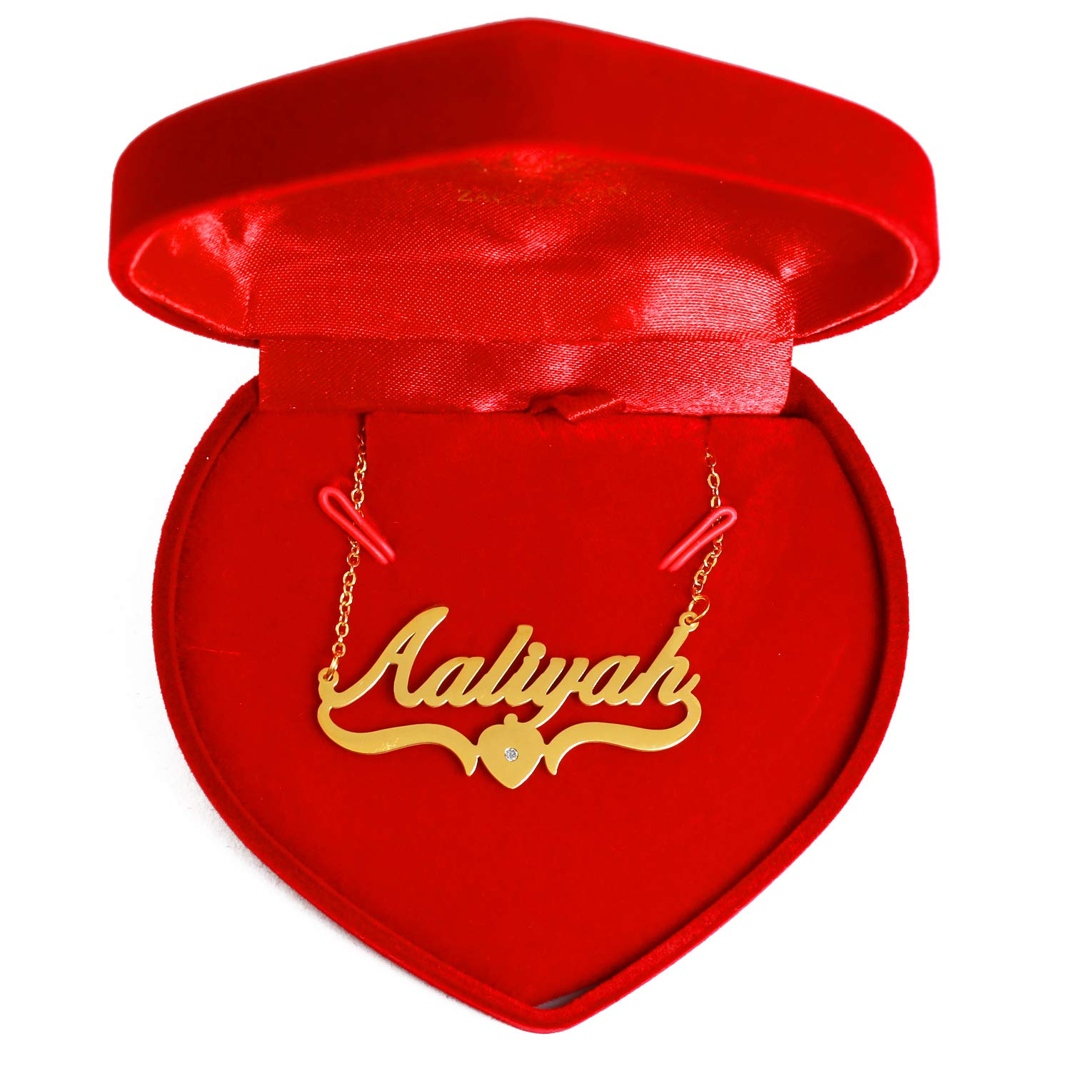 Personalized Custom Name Necklace Heart Shaped Kigu Aaliyah 18ct Gold Plated