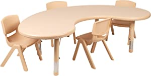 """Flash Furniture 35""""W x 65""""L Half-Moon Natural Plastic Height Adjustable Activity Table Set with 4 Chairs"""