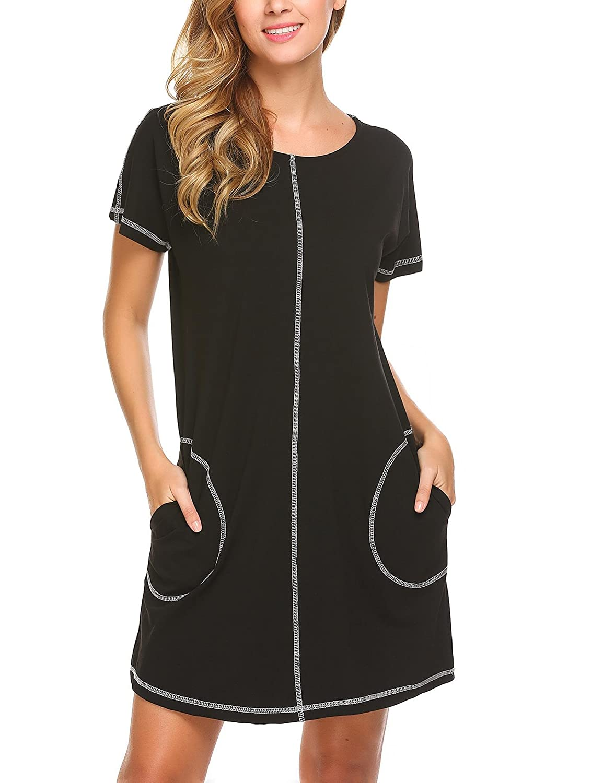 Goldenfox Women O-Neck Short Sleeve Zipper Nighties Sleepwear Robe Nightgown  S-XL 3b8217e90