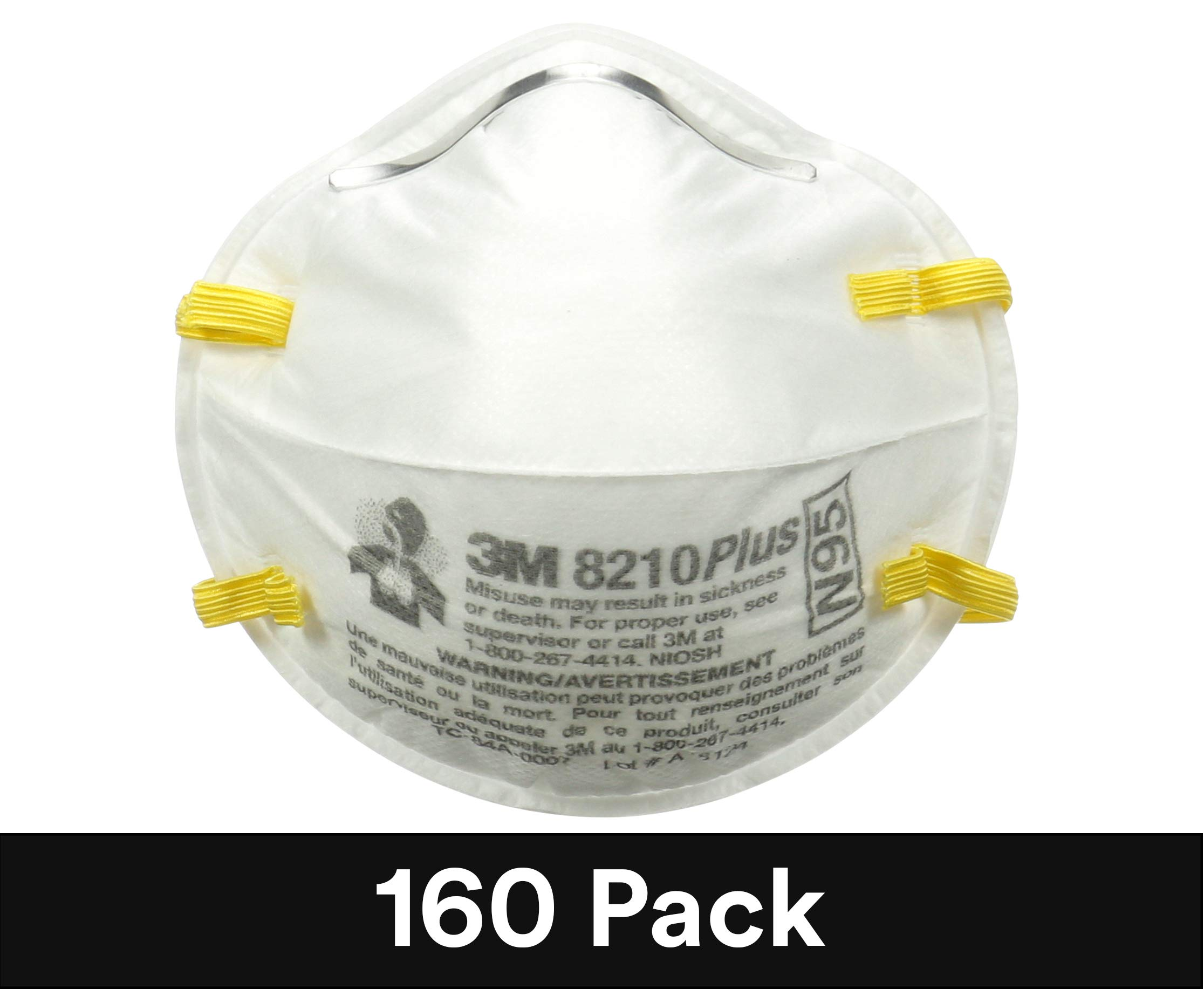 3M Particulate Respirator 8210Plus, N95, Smoke, Dust, Grinding, Sanding, Sawing, Sweeping, 160/Pack by 3M Personal Protective Equipment