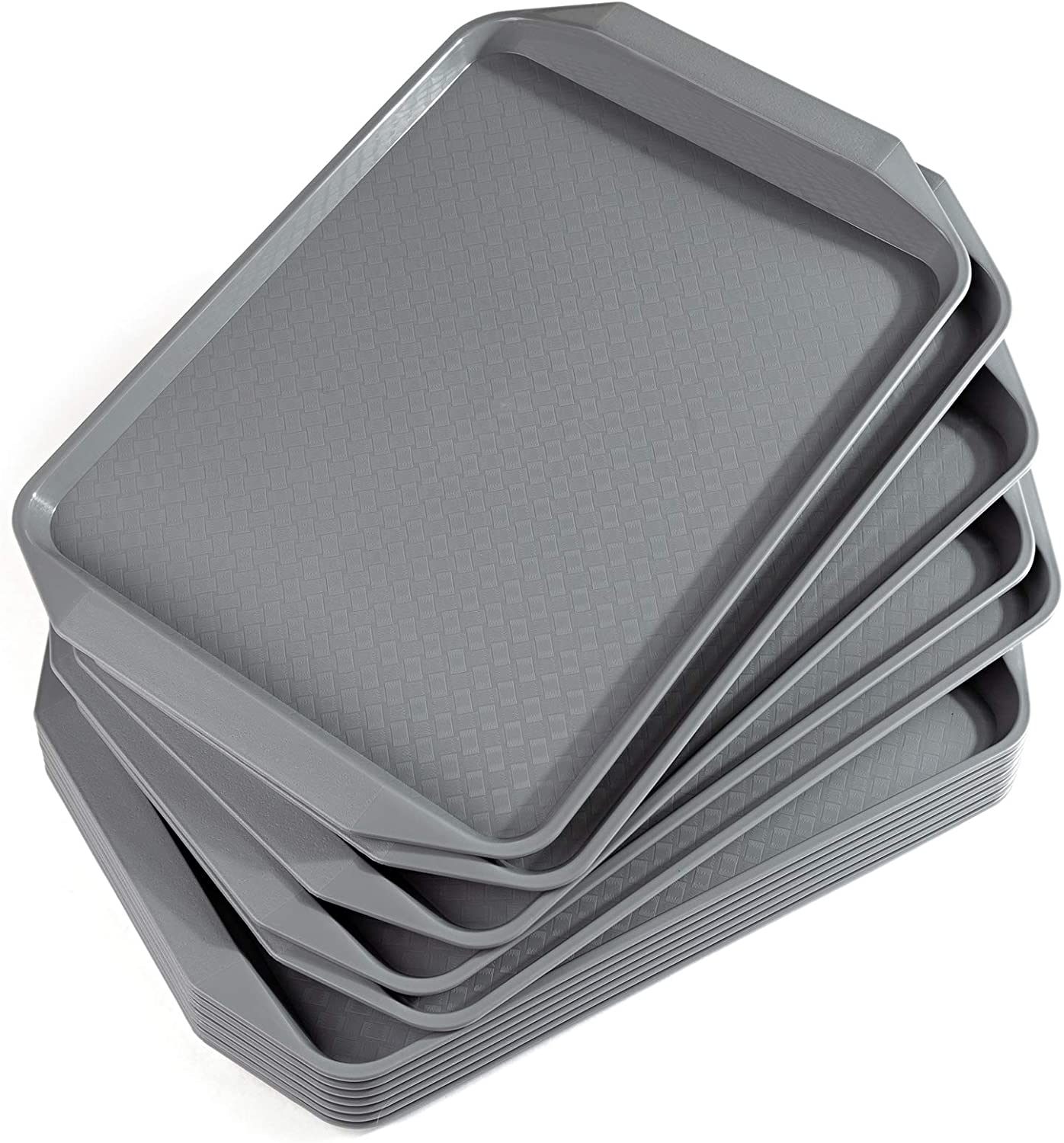 Aebeky Plastic Fast Food Tray,16.7 by 11.8-Inch,Set of 12 (Grey)