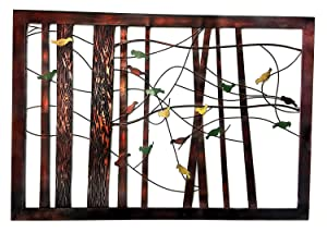 Bellaa 22021 Birds Metal Wall Decor Tree of Life 39 Inch (Multi Color Mix, X Large)