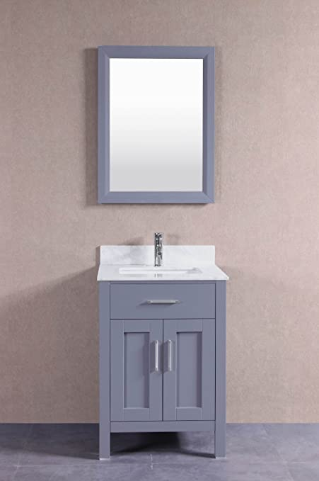 24 Inch Belvedere Grey Bathroom Vanity With Marble Top Backsplash