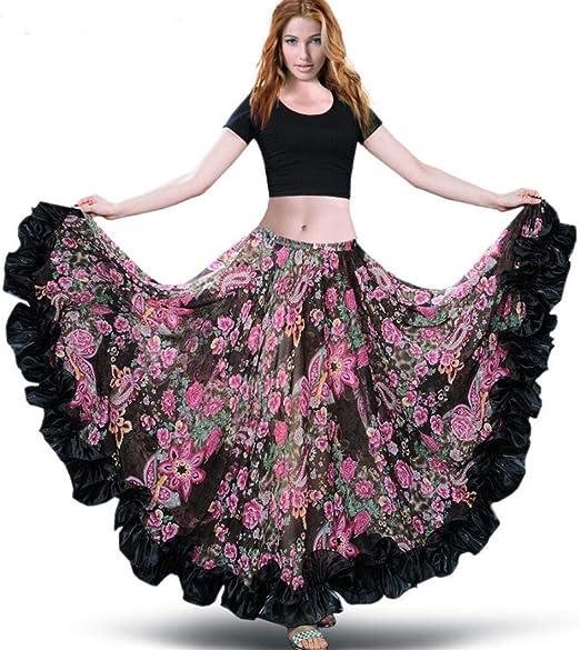 SMACO Disfraz De Danza del Vientre 360 ° Falda Larga Vestido ...