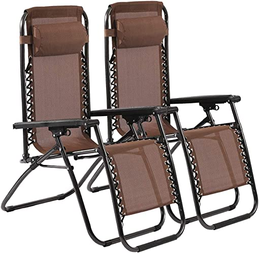 Zero Gravity Chair Patio Lounge Chair Chaise 2 Pack Outdoor Folding Adjustable Heavy Duty Recliner Chairs with Pillows Hold Up to 250Lbs for Patio, Pool, Beach, Lawn, Deck, Yard – Brown