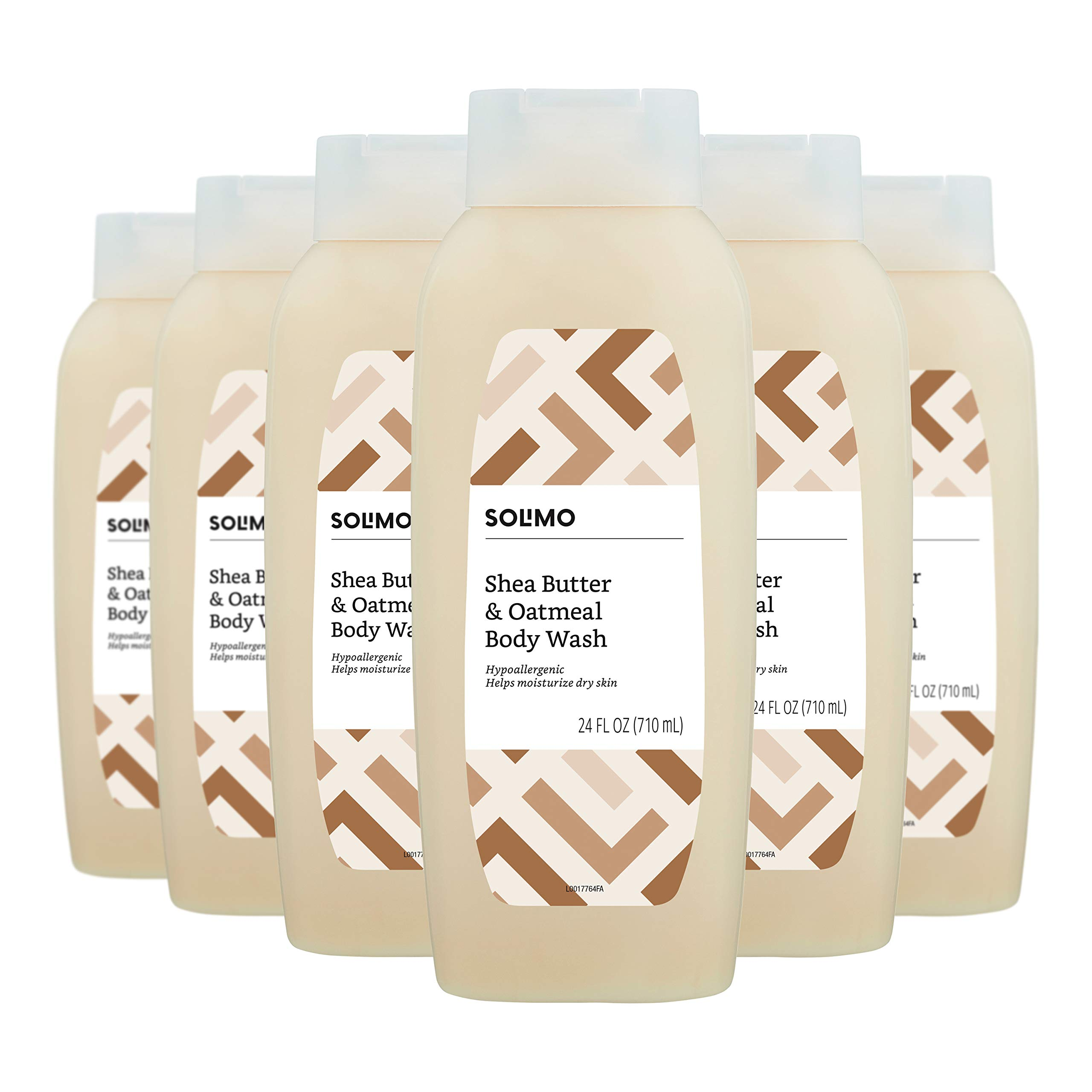 Amazon Brand - Solimo Shea Butter and Oatmeal Body Wash, 24 Fluid Ounce (Pack of 6) by Solimo