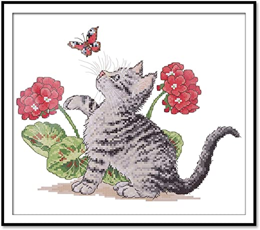 Printed Cross Stitch Kits 11CT 15X13inch 100% Cotton Holiday Gift DIY Embroidery...