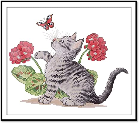 Stamped Cross Stitch Kits for Beginners-Abstract Art butterfly-11CT Pre-Printed Pattern Stamped Cross-Stitching Embroidery Kits Fabric Needlepoint Crafts Needlework gifts-16x20 inch