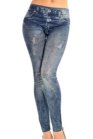 ba23a535931ca Lettre d amour Completos forrados Jeans Mujer ven pantalones ajustados  leggins Slim Blue One Size  Amazon.es  Ropa y accesorios