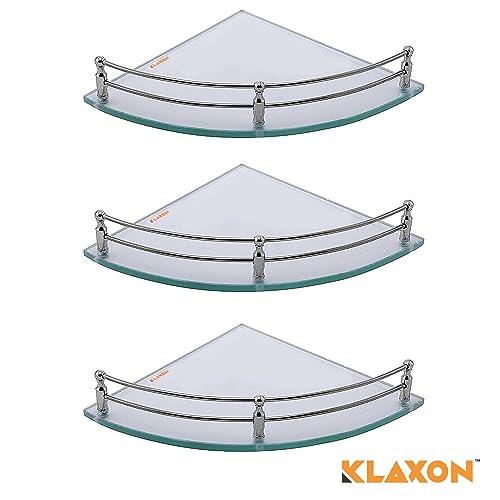 Klaxon Glass Corner Shelf (Pack of 3, Glossy)