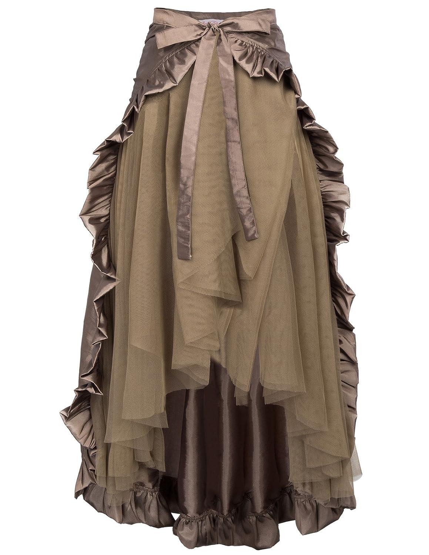 Belle Poque Women's Steampunk Gothic Skirt Victorian Ruffles Pirate Skirt Wrap/Cape BP000206