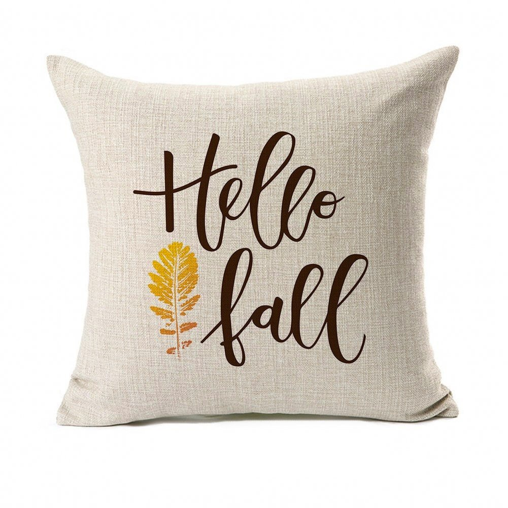 Fall Quotes Throw Pillow Case Autumn Leaf Cushion Cover Cotton Linen 18'' x 18'' Set of 2(Fall In Love & Hello Fall) by Micropillow (Image #3)