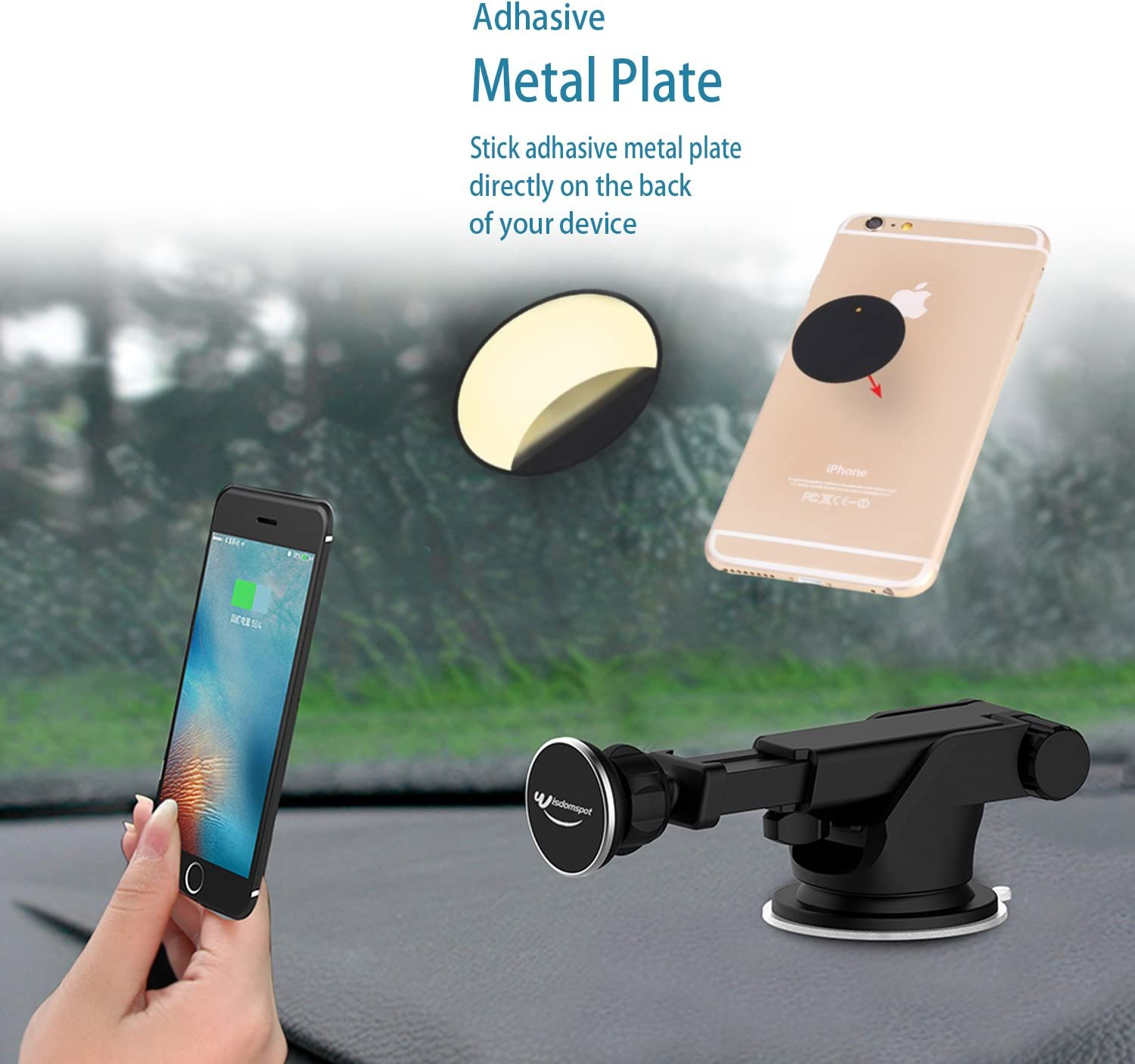 Cell Phones and GPS Devices Magnetic Phone Car Mount Cell Phone Holder for Car,Dashboard Car Mount Holder with Telescoping Long Arm for iPhones Wisdomspot Magnetic Car Mount Phone Holder