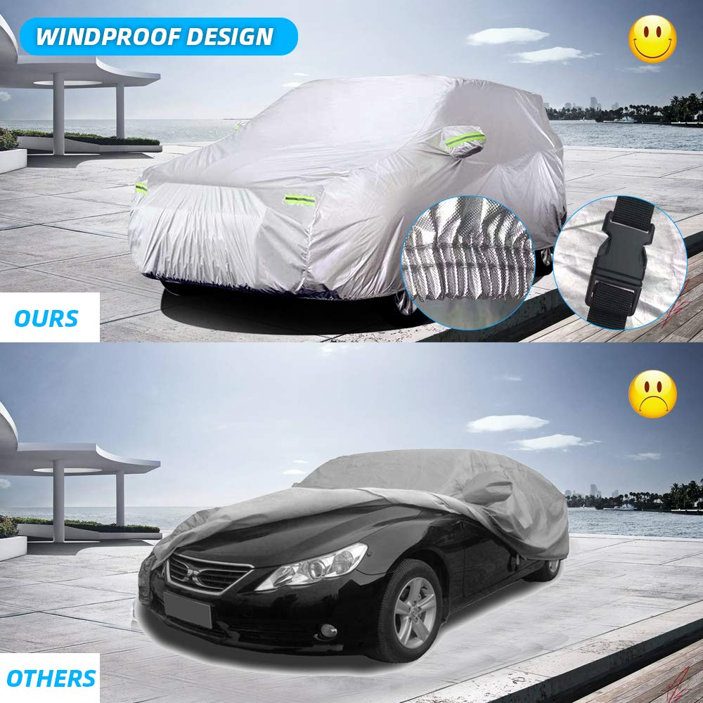 Waterproof SUV Car Covers 6 Layers All Weather UV Protection Windproof Snow-Proof Dust-Proof Scratch Resistant Universal Full Car Cover Fit for SUV 190/'/'-201/'/' Jeep WOKOKO Car Cover Sedan XL