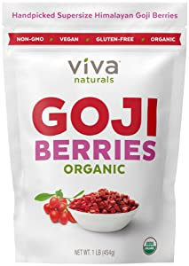 Viva Naturals Organic Dried Goji Berries, 1lb - Premium Himalayan Berries Perfect for Baking, Teas, Trail Mixes and More