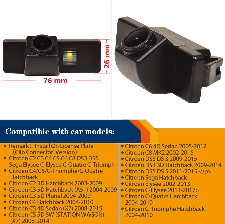 HD Cam/éra de Recul Voiture en Couleur Kit Cam/éra vue arri/ère de voiture Imperm/éable IP68 Vision Nocturne pour Qashqai X-Trail Geniss J10 C4 C5 C-Triomphe 308//407//408//301//308SW//308CC//3008 Dualis