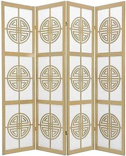 Oriental Furniture 6 ft. Tall Long Life Shoji Screen – 4 Panel – Natural