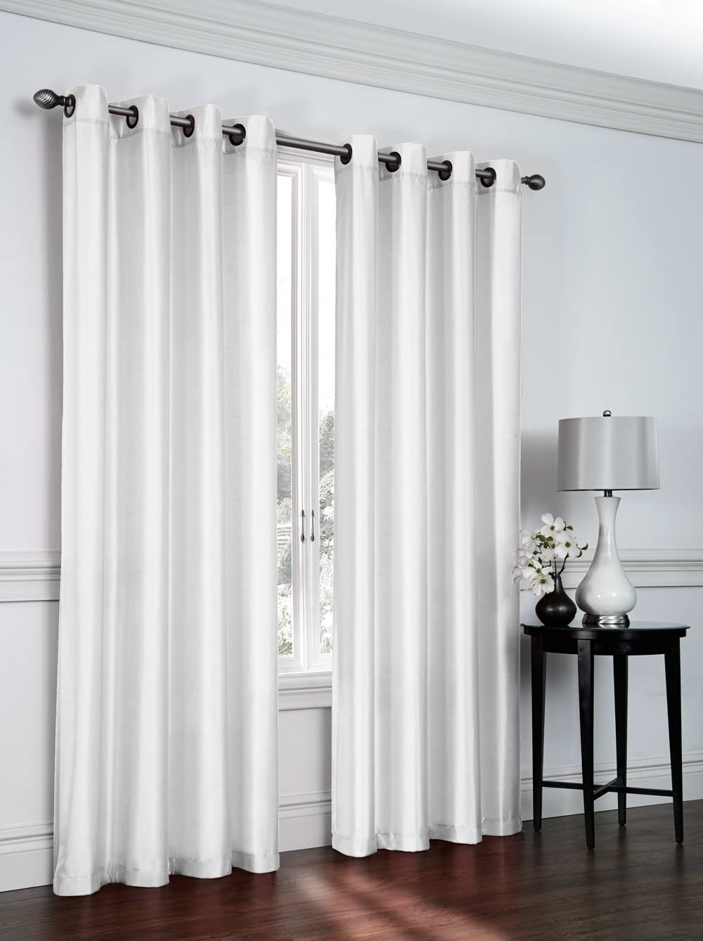 Regal Home Collections Artisan 54-Inch Wide X 84-Inch Long Faux Silk Window Panel with Grommets, White