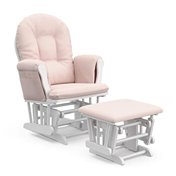 d2a4abab1 Storkcraft Premium Hoop Glider and Ottoman (White Base, Pink Chevron  Cushion) - Padded