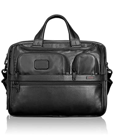 dc63e22ea15b TUMI - Alpha 2 Expandable Organizer Leather Laptop Brief Briefcase - 15  Inch Computer Bag for Men and Women - Black