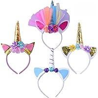 Geboor 4Pcs Cerchietto con Corno di Unicorno Costume Cosplay con Orecchie Per Feste Di Compleanno Celebration Party