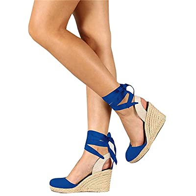 FISACE Womens Summer Wedge Sandals Closed Toe Espadrilles Heels Platform Sandal Shoes | Platforms & Wedges