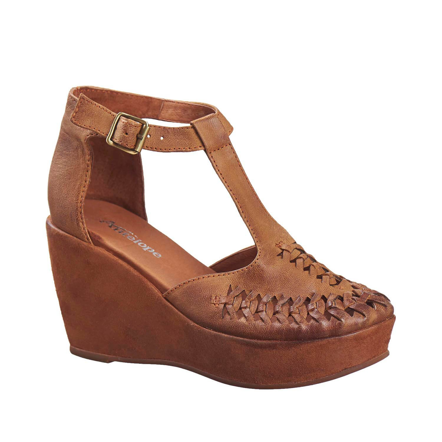 Antelope Women's 813 Tobacco Leather Mary Janes 40