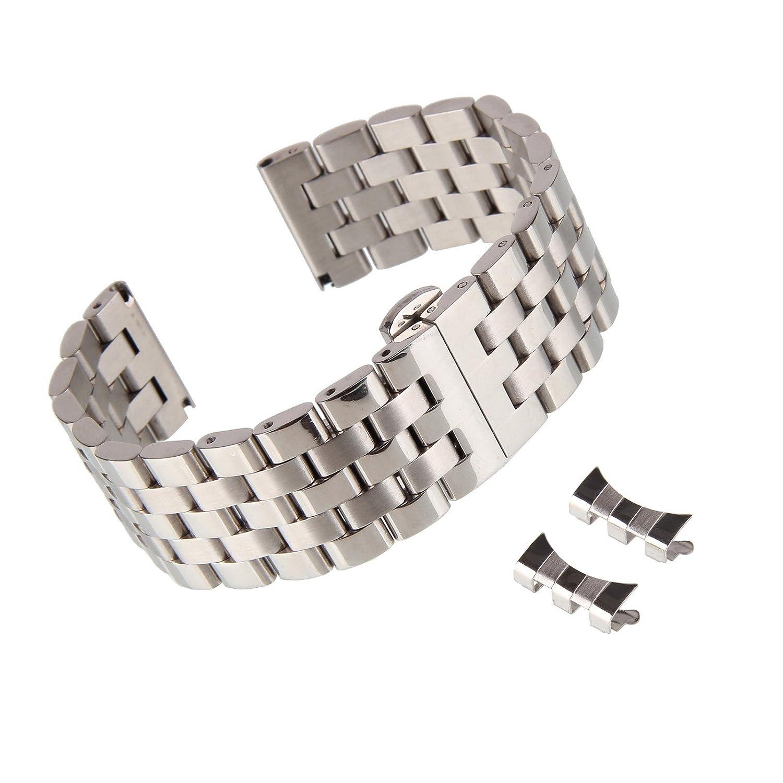 beauty7 Polished BrushedブラックSliverソリッドステンレススチールLink Watch Band Strap for Curved Straight End 20mm シルバー B0756FF84Bシルバー 20mm