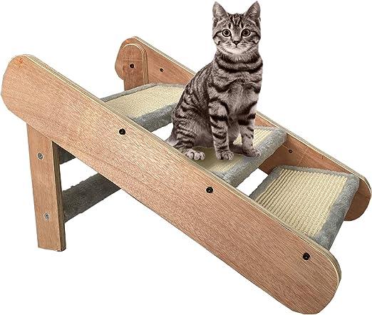 MECOREX - Escalera para Gatos y Perros, 2 en 1, Plegable, Tres Niveles, Madera + MDF: Amazon.es: Productos para mascotas