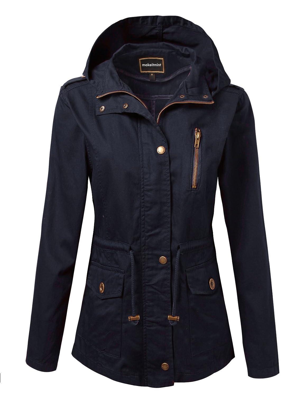 makeitmint Women's Zip Up Military Anorak Jacket w/Hood [S-3XL]