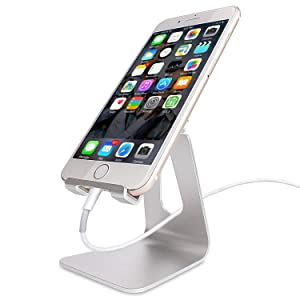 Adjustable Cell Phone Stand, CreaDream Phone Stand, Cradle, Dock, Holder, Aluminum Desktop Stand Compatible with iPhone Xs Max Xr 8 7 6 6s Plus 5s Charging, Accessories Desk,All Smart Phone-Silver (Color: Silver-Adjustable)