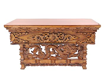 Charming DharmaObjects Solid Wood Hand Carved Tibetan Buddhist Prayer Shrine Altar  Meditation Table (Medium, Dark