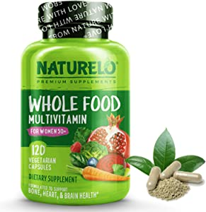 NATURELO Whole Food Multivitamin for Women 50+ (Iron Free) with Vitamins, Minerals, Organic Extracts - Supplement for Post Menopausal Women Over 50 - No GMO - 120 Vegan Capsules