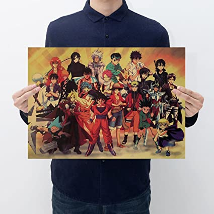 4e875e0c4dba Fangeplus(R Anime Characters Animation Collection One Piece Slam Dunk  Naruto Poster Antique Vintage Old