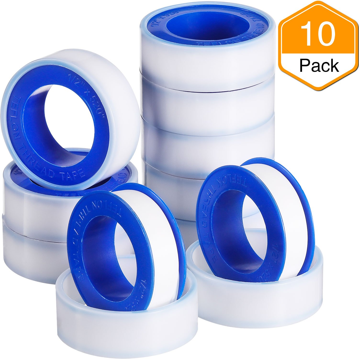 Details about Skylety 10 Rolls Thread Seal Tapes, PTFE Pipe Sealant Tape  (1/2 by 520 Inches)