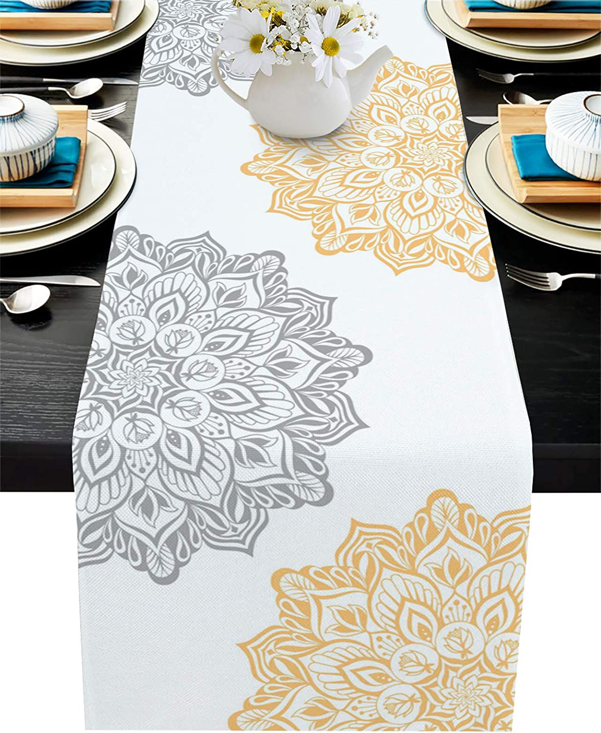 13x70 inch Yellow Grey Cotton Linen Table Runner Dresser Scarves Vintage Mandala Floral Non-Slip Burlap Rectangle Table Setting Decor for Wedding Party Holiday Dinner Home