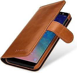 StilGut Talis Housse Samsung Galaxy A6 2018 avec Porte-Cartes en Cuir véritable. Etui Portefeuille pour Samsung Galaxy A6 2018 à Ouverture latérale et Languette magnétique, Cognac