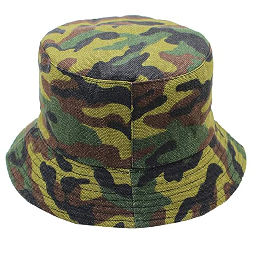 122c21e85ed38 Bucket Cap Reversible Camouflage Printed Fisherman Hat Unisex Men Women  Outdoor Sun Hats (Army Green