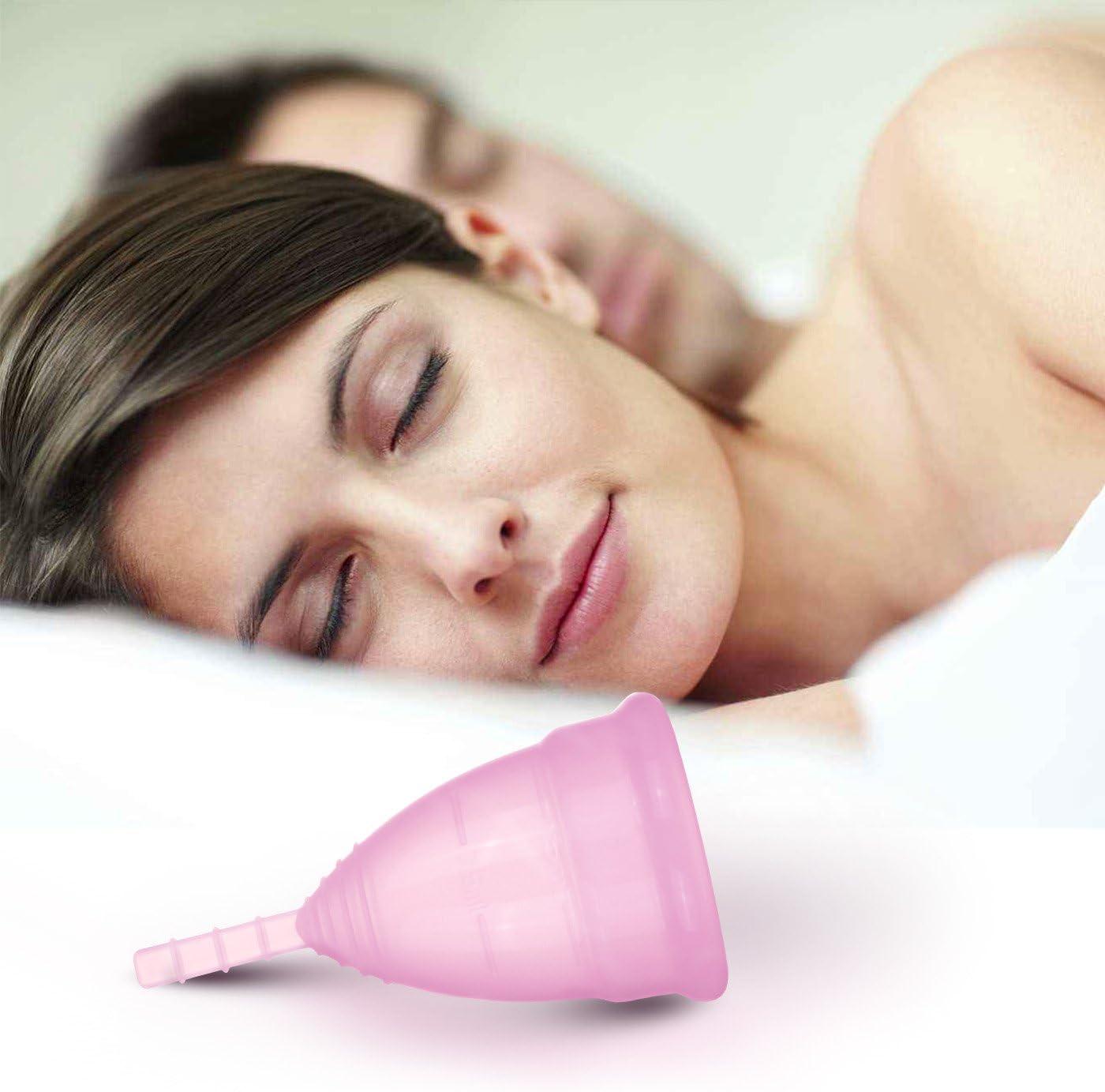 Copa menstrual Apriller de silicona hipoalergénica de grado médico, con bolsa y caja de regalo, talla pequeña, rosa, Large