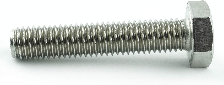 Eisenwaren2000 tornillos hexagonales DIN 933 acero inoxidable A2 V2A rosca completa Tornillos hexagonales M8 con rosca hasta la cabeza ISO 4017