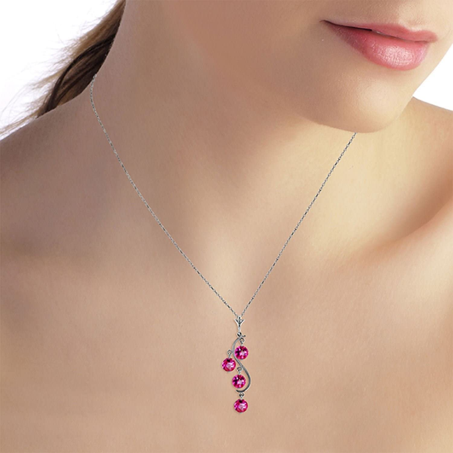 ALARRI 14K Solid White Gold Heart Necklace w// Dangling Natural Pink Topaz with 18 Inch Chain Length
