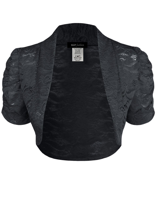 ELF FASHION Women Top Short Sleeve Floral Lace Shrug Open Front Bolero Cardigan (Size S~3XL) Black 3XL