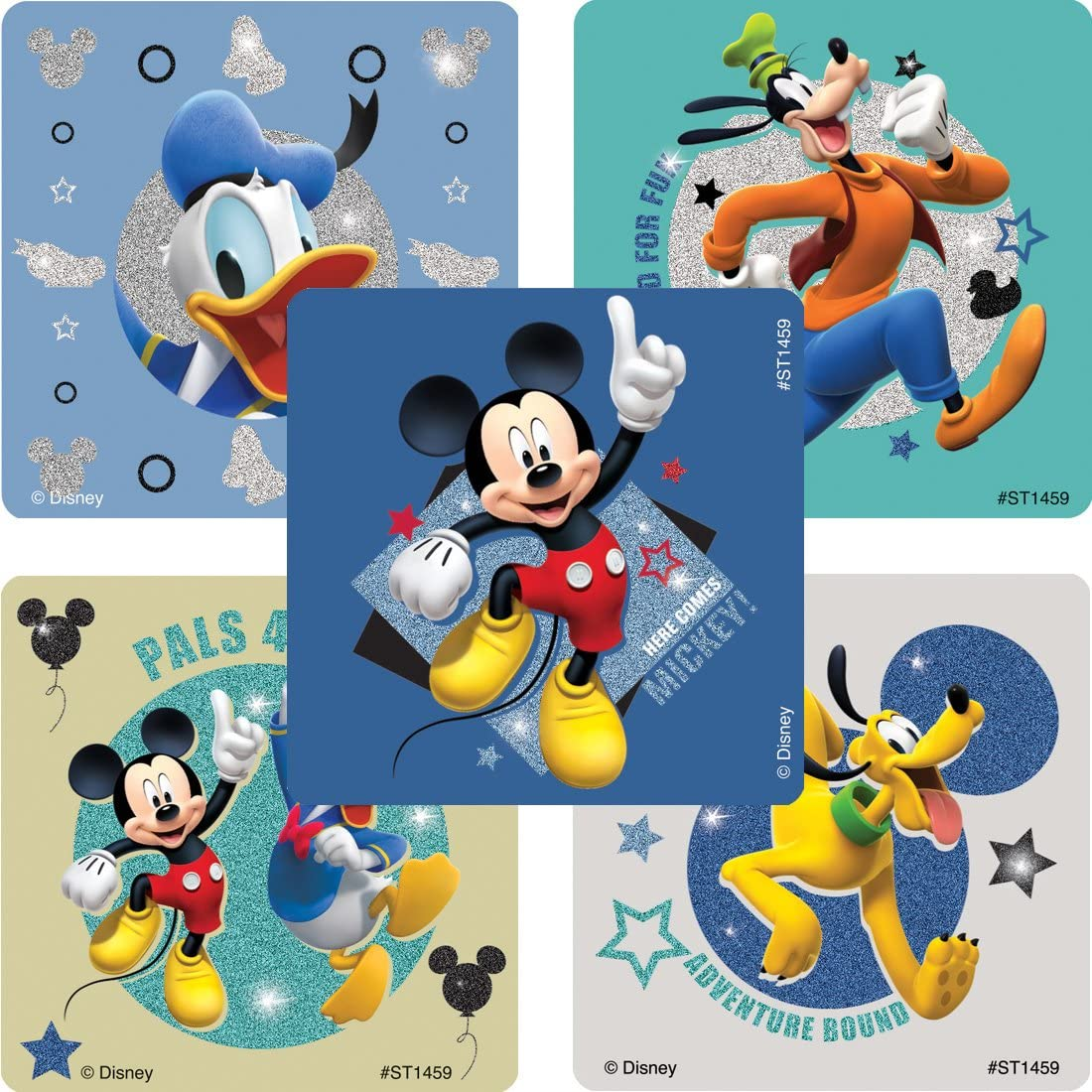Prizes 50 Per Pack Mickey Mouse Pals Glitter Stickers