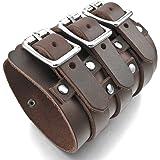 MunkiMix Alliage Genuine Leather Véritable Bracelet Bracelet Menotte Ton d'Argent Brun Réglable Homme